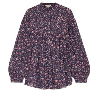 LAILA PINTUCKED FLORAL-PRINT BLOUSE